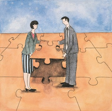 An illustration of a man and a woman, both in suit, holding a piece of puzzle together to complete the puzzle